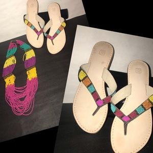 Shoes - Bundle Bright Colored Beaded Sandals and Necklace